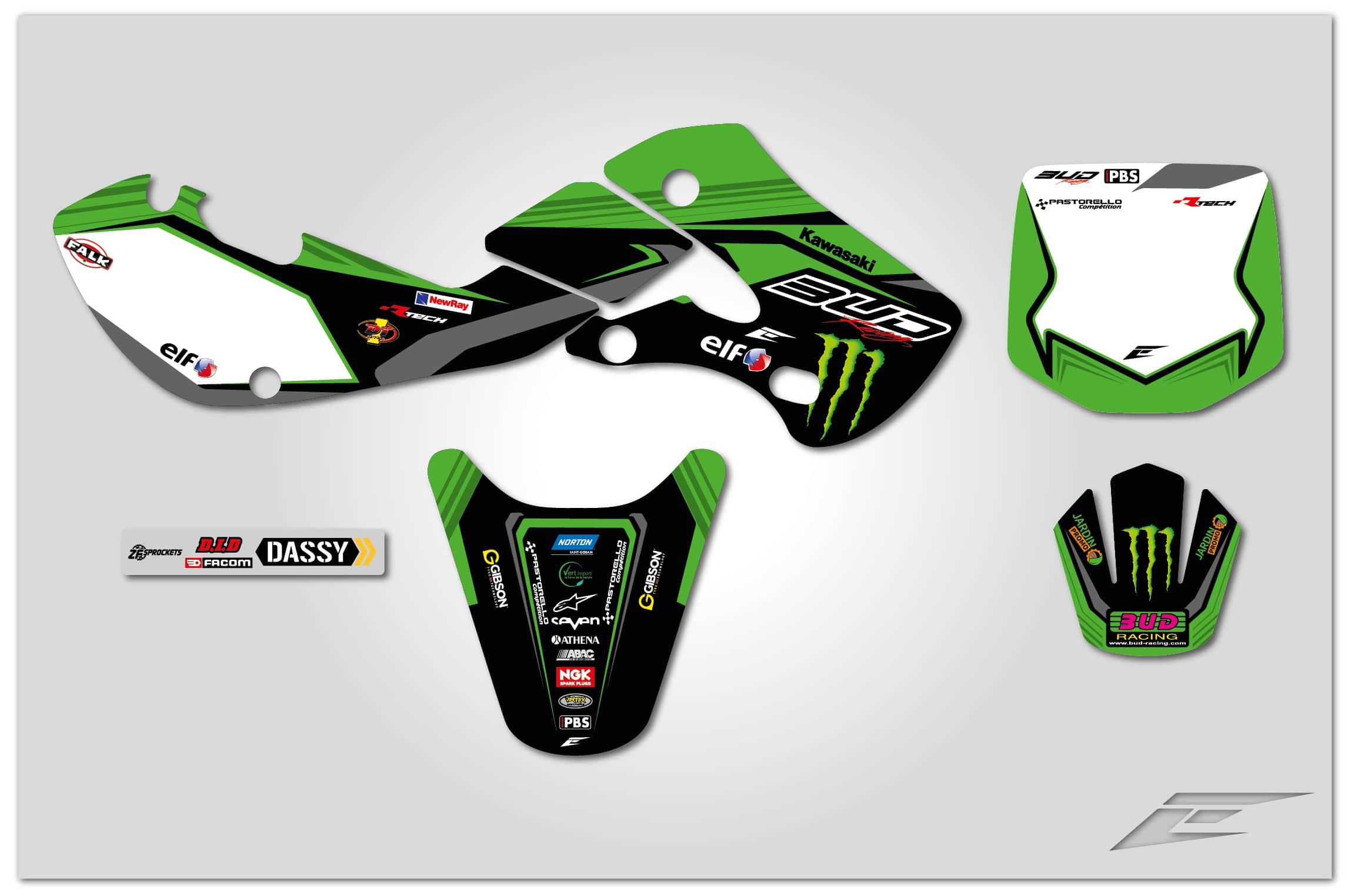 Kit déco team BUD racing 2018 réplica Kawasaki 65 KX