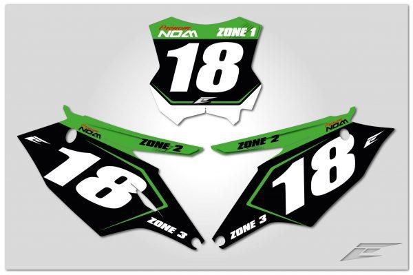 kit déco fond de plaque personnalisable pour motocross kawasaki 250 kxf de 2000 à 2020 primer. eight racing factory stickers graphics décals.