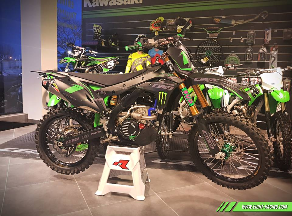 kit déco kawasaki 250 kxf 2019 cbo group finition mat eight racing factory stickers graphics décals