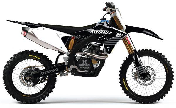 kit déco complet personnalisable pour motocross suzuki 250 450 rmz de 2000 à 2020 fasthouse moto crew. eight racing factory stickers graphics décals.