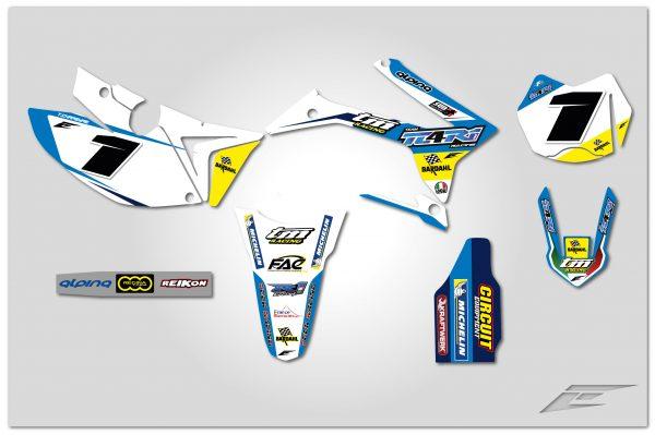 kit déco complet personnalisable pour moto enduro tm racing en fi de 2000 à 2020 team tc4r1 2019. eight racing factory stickers graphics décals.