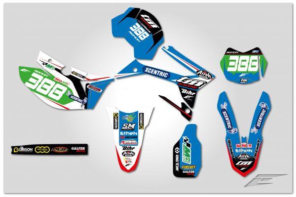 kit déco complet personnalisable pour moto enduro tm racing en fi de 2000 à 2020 team france xcentric 2019. eight racing factory stickers graphics décals.