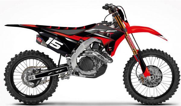 kit déco pour motocross honda 250 450 crf de 2005 à 2019 avec cette serie peronnalisable avec vos sponsors eight mx decals graphics