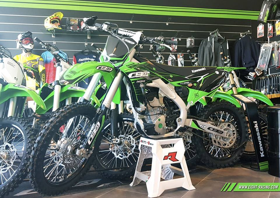 kit déco kawasaki 250 kxf cbo group 2019 eight racing mx motocross decals stickers graphics