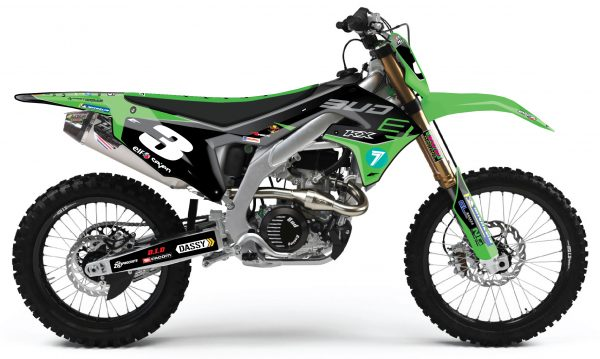 kit déco complet personnalisable pour motcross kawasaki 450 kxf de 2000 à 2020 bud racing 2019. eight racing factory stickers graphics décals.