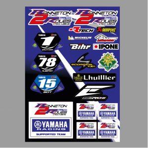 Planche de stickers Yamaha Bonneton 2 Roues Enduro Team 2019 .