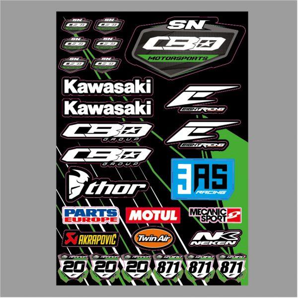 planche de stickers autocollant adhésif motocross team sn cbo motorsports 2019 eight racing mx decals graphics kawasaki thor