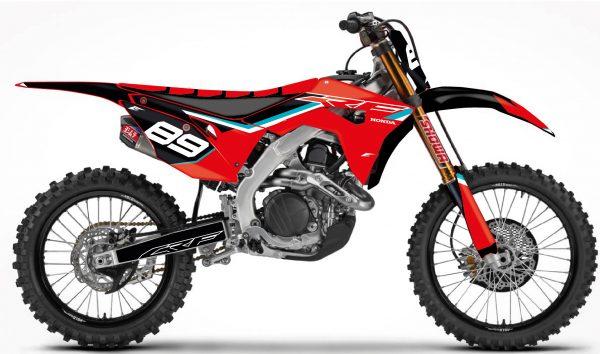 kit déco pour motocross honda 250 450 crf, avec cette serie peronnalisable avec vos sponsors eight mx decals graphics custom autocollant.