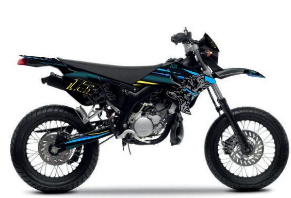 kit déco complet personnalisable pour moto yamaha 50 dt réplica 100% bitume 2019. eight racing factory stickers graphics décals